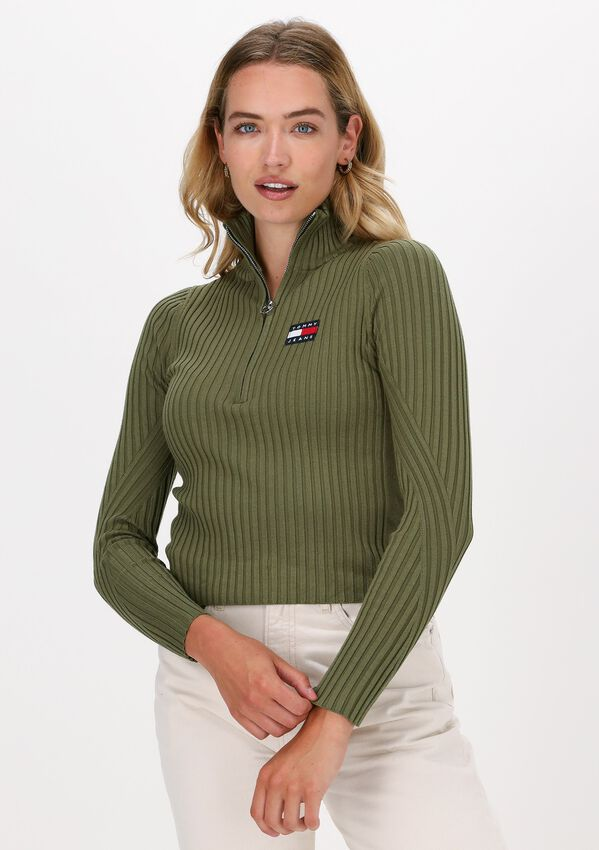 Groene TOMMY JEANS Sweater TJW HALF ZIP THRU SWEATER - larger