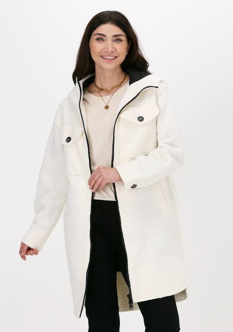 Witte BEAUMONT Teddy jas BOUCLE LONG HOODED JACKET - large