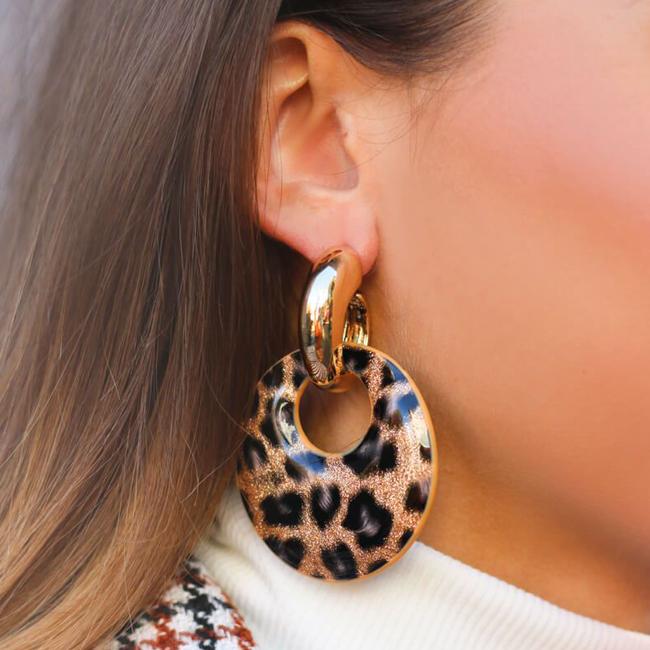 Bruine MY JEWELLERY Oorbellen LEOPARD HOOP EARRINGS - large