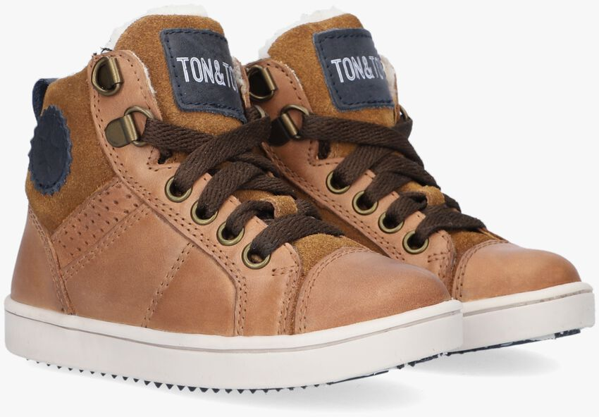 Cognac TON & TON Hoge sneaker ARVID  - larger
