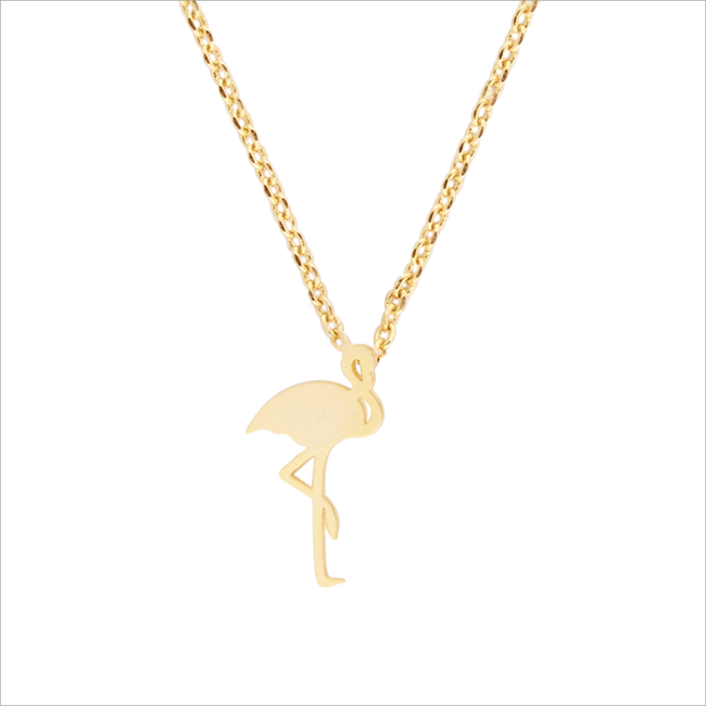Gouden ALLTHELUCKINTHEWORLD Ketting ELEMENTS NECKLACE FLAMINGO - large