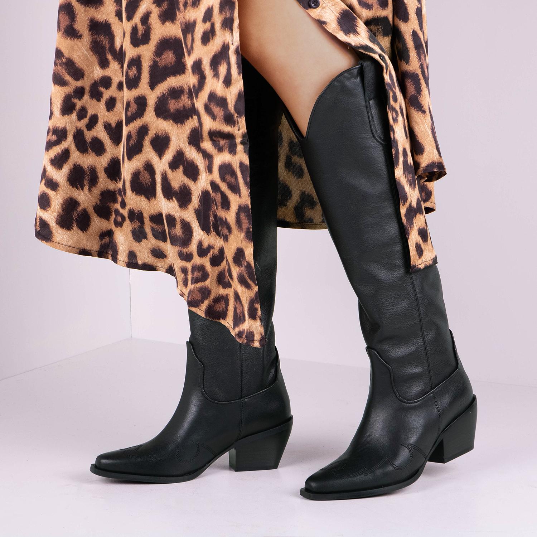 Zwarte NUBIKK Lange laarzen ALEX GILLY | Omoda