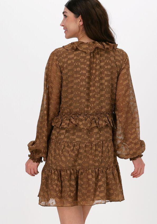 Bruine NA-KD Mini jurk SHEER FRILL DETAIL MINI DRESS  - larger