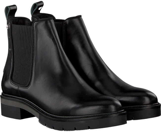 Zwarte TOMMY HILFIGER Chelsea boots METALLIC LEATHER CHELSEA BOOT - large