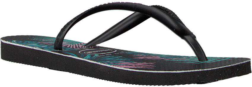 Zwarte HAVAIANAS Slippers KIDS SLIM TROPICAL FLORA  - larger