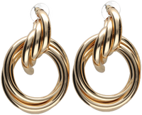 Gouden NOTRE-V Oorbellen OORBEL DUBBELE RING  - medium