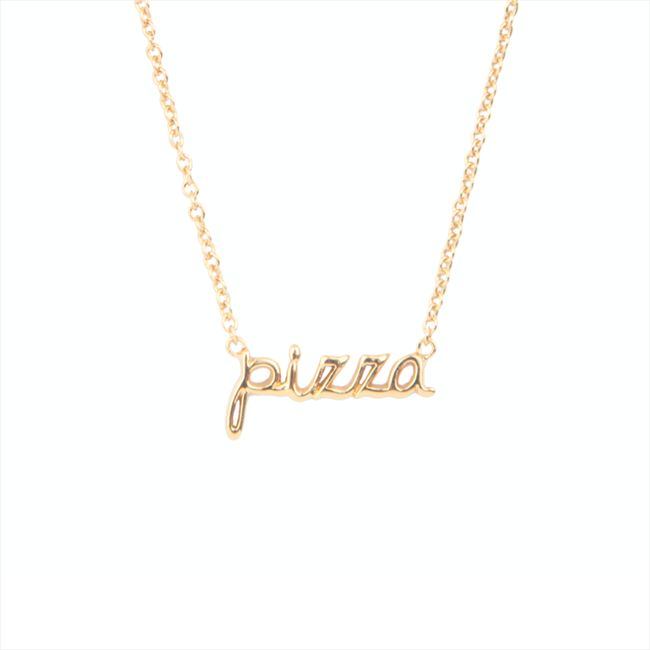 Gouden ALLTHELUCKINTHEWORLD Ketting URBAN NECKLACE PIZZA - large