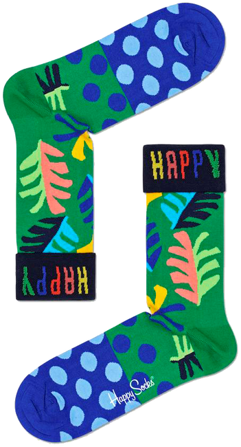 Groene HAPPY SOCKS Sokken BIG LEAF  - large