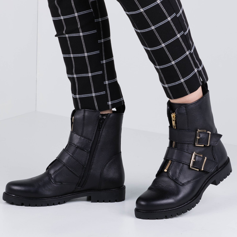 50 Black Leather Biker Boots