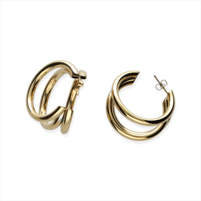 Gouden NOTRE-V Oorbellen OORBEL DRIE RINGEN  - large