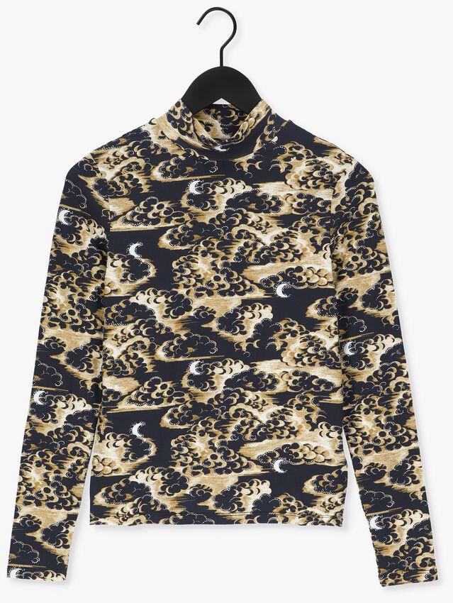 Bruine SCOTCH & SODA T-shirt PRINTED LONG-SLEEVED HIGH NECK  - larger