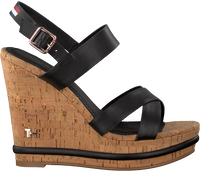 Zwarte TOMMY HILFIGER Sandalen CORPORATE WEDGE  - medium