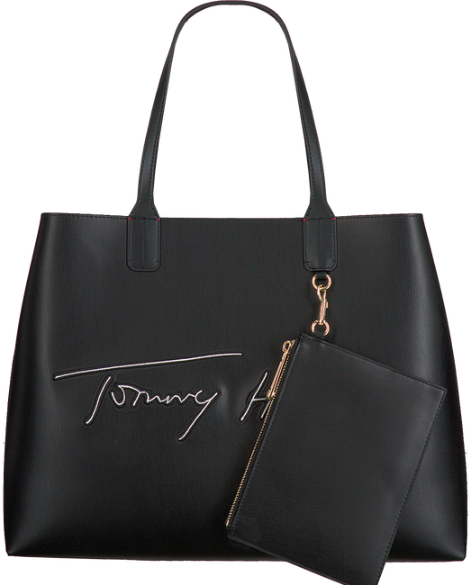 Zwarte TOMMY HILFIGER Shopper ICONIC TOTE SIGNATURE  - large