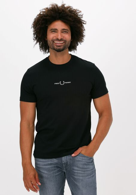 Zwarte FRED PERRY T-shirt EMBROIDERED T-SHIRT  - large