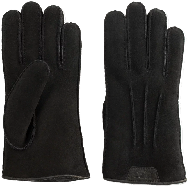 Zwarte UGG Handschoenen CASUAL GLOVE WITH LEATHER LOGO - large