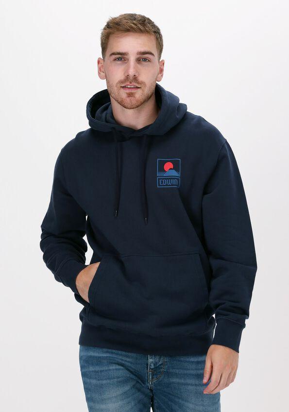 Blauwe EDWIN Sweater SUNSET ON MT FUIJ HOODIE SWEAT  - larger