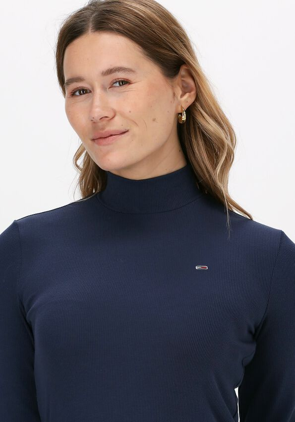 Donkerblauwe TOMMY JEANS T-shirt TJW RIB MOCK NECK LONGSLEEVE - larger