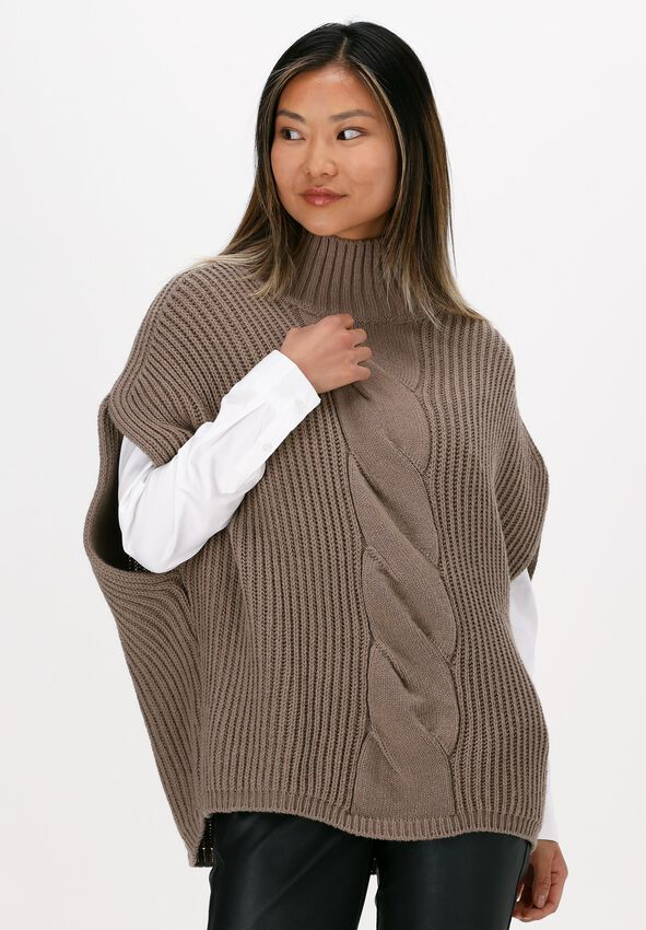 Beige SUMMUM Spencer SLEEVELESS CABLE SWEATER WOOL  - larger