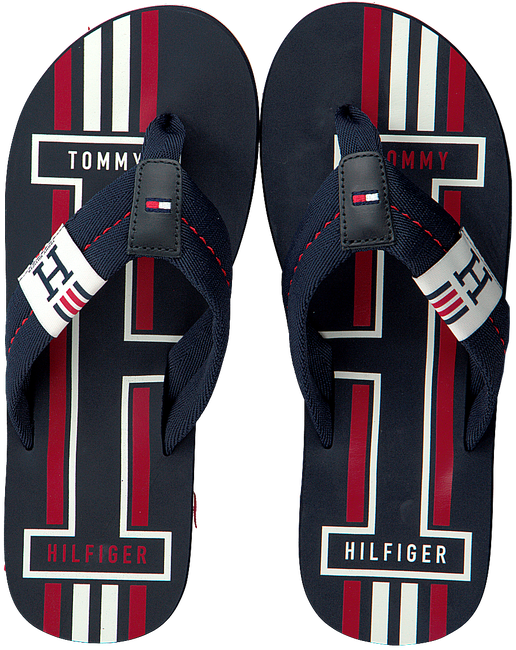 Blauwe TOMMY HILFIGER Slippers BADGE TEXTILE BEACH  - large