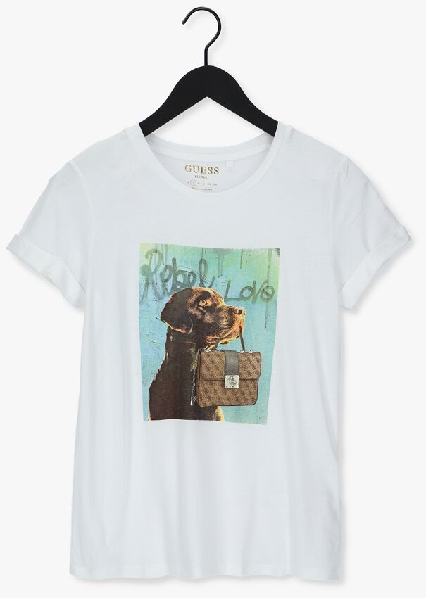 Witte GUESS T-shirt SS DOG AND PURSE ROLL SLV TEE - larger