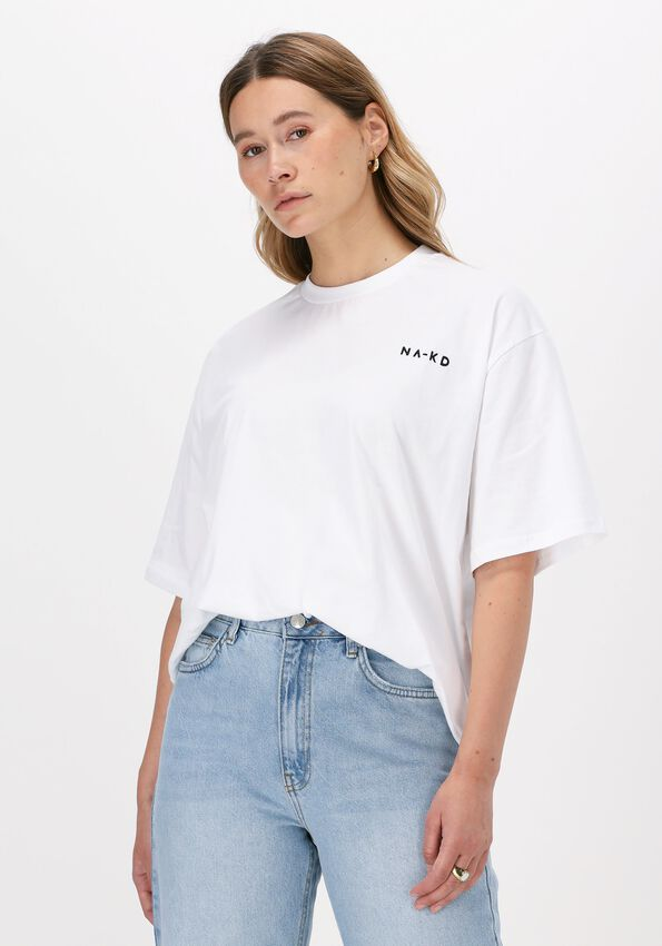 Witte NA-KD T-shirt ORGANIC LOGO OVERSIZED TEE  - larger