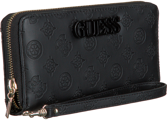 Zwarte GUESS Portemonnee JANELLE SLG LARGE ZIP AROUND  - large