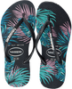 Zwarte HAVAIANAS Slippers KIDS SLIM TROPICAL FLORA  - small