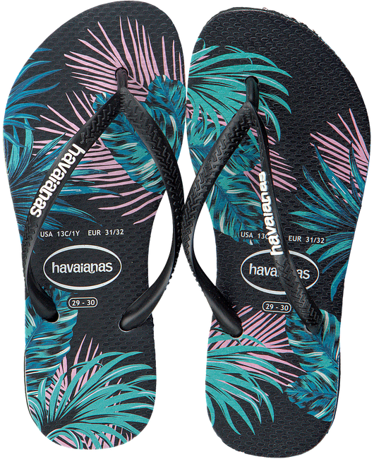 Zwarte HAVAIANAS Slippers KIDS SLIM TROPICAL FLORA  - large