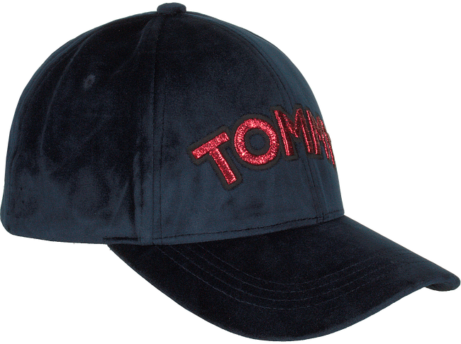 Blauwe TOMMY HILFIGER Pet PATCH CAP VELVET  - large