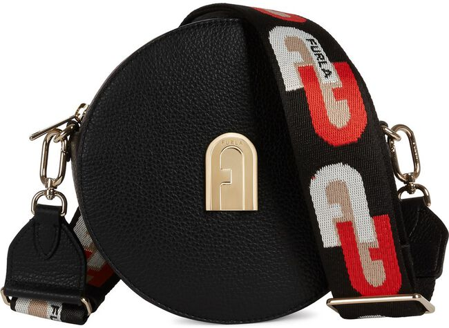 Zwarte FURLA Schoudertas SLEEK MINI CROSSBODY ROUND  - large
