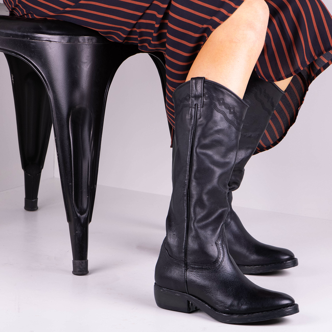 Zwarte CATARINA MARTINS Lange Laarzen NOMAD HIGH EMBROIDERY  - large