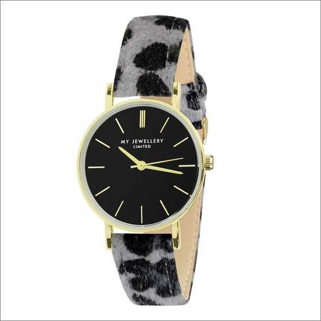 Grijze MY JEWELLERY Horloge LEOPARD WATCH - large