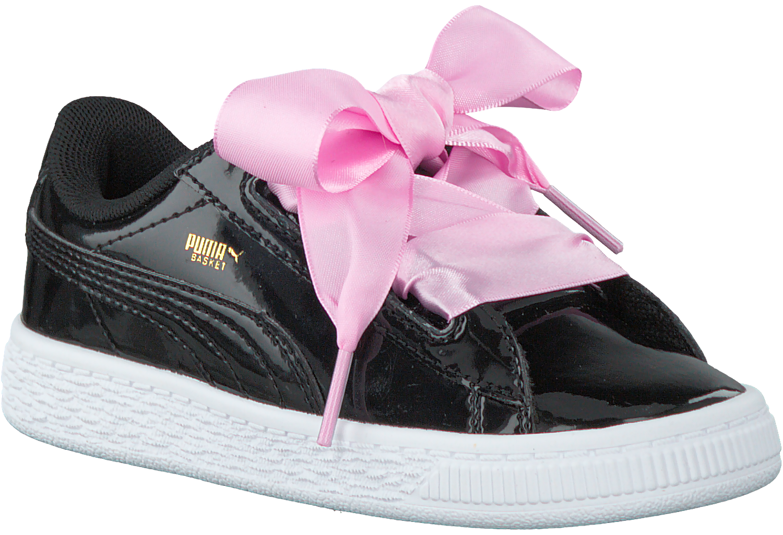 Zwarte PUMA Sneakers BASKET HEART PATENT KIDS | Omoda