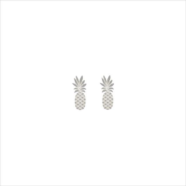 Zilveren ALLTHELUCKINTHEWORLD Oorbellen ELEMENTS EARRINGS TALL PINEAPP - large