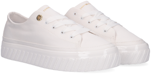 Witte TOMMY HILFIGER Lage sneakers SHINY FLATFORM VULC  - large