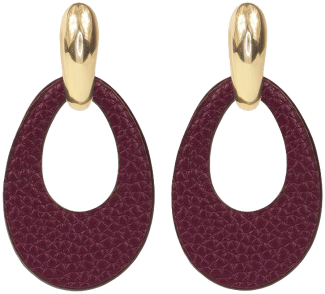 Rode MY JEWELLERY Oorbellen LEATHER OVAL EARRING - large