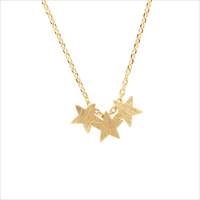 Gouden ALLTHELUCKINTHEWORLD Ketting FORTUNE NECKLACE THREE STARS - large