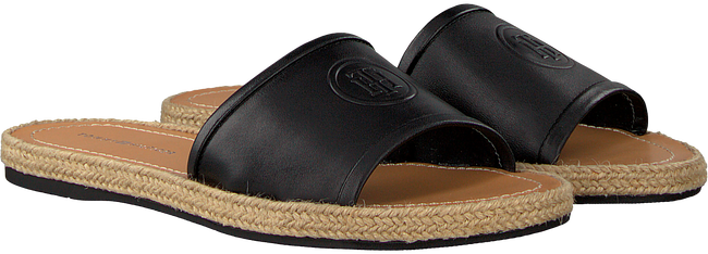 Zwarte TOMMY HILFIGER Slippers LEATHER FLAT MULE - large