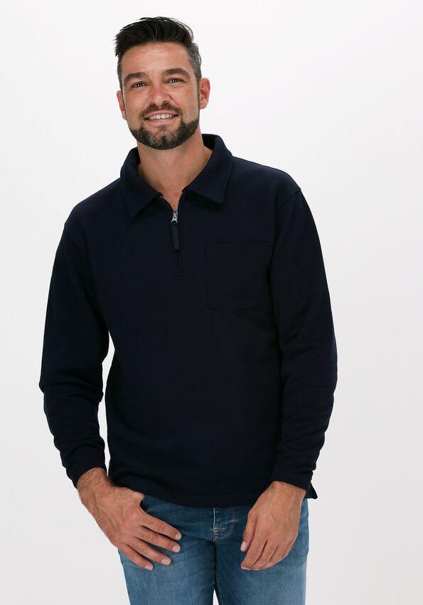 Donkerblauwe SELECTED HOMME Trui SLHRELAXREID HALF ZIP SWEAT W - larger