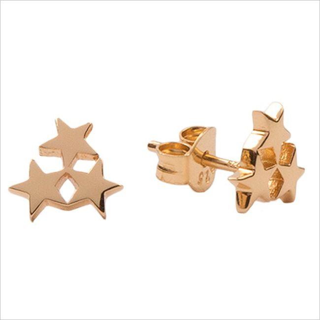 Gouden ATLITW STUDIO Oorbellen PARADE EARRINGS THREE STARS SM  - large