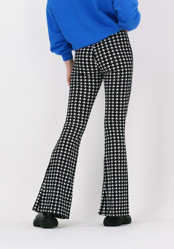 Zwarte COLOURFUL REBEL Flared broek DARCY DOGTOOTH SLIT FLARE - larger