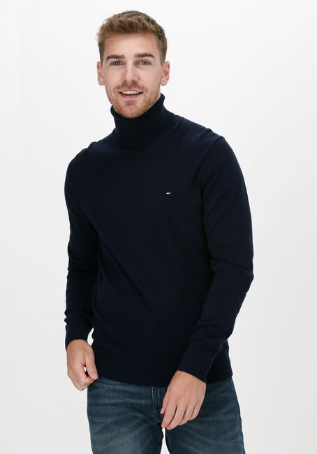 Donkerblauwe TOMMY HILFIGER Coltrui PIMA COTTON CASHMERE ROLL NECK - large