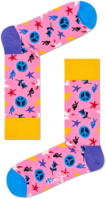 Multi HAPPY SOCKS Sokken PEACE AND LOVE - large