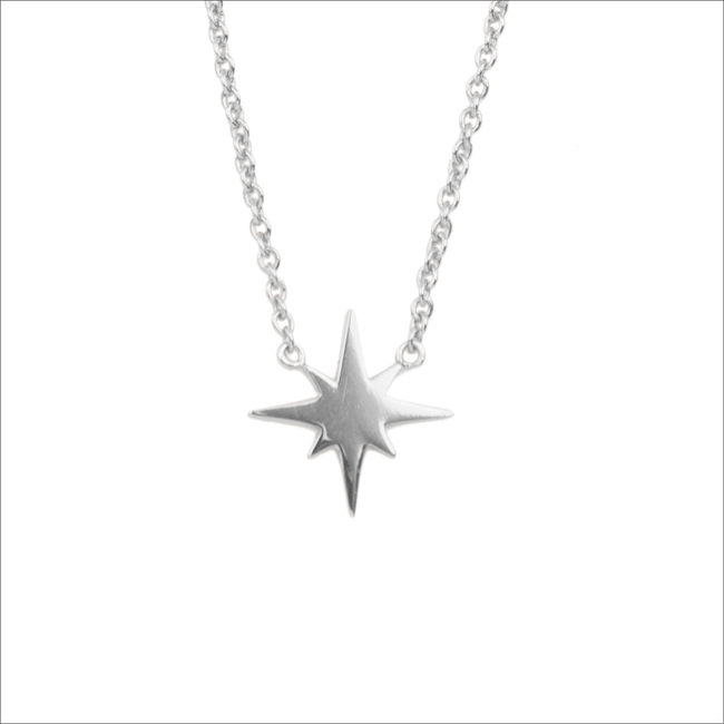 Zilveren ALLTHELUCKINTHEWORLD Ketting SOUVENIR NECKALCE STAR BURST - large
