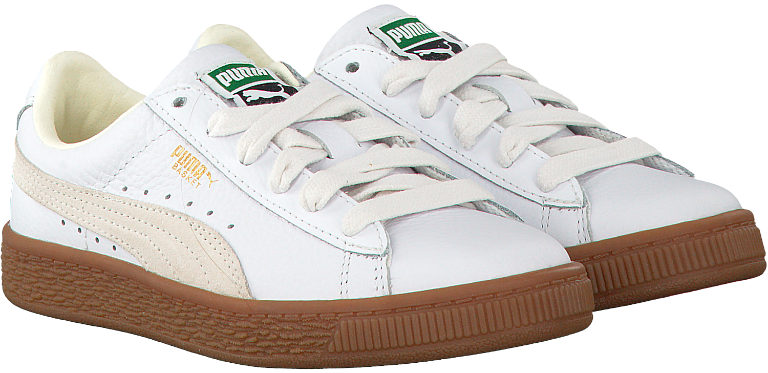 4f46543fc34 Witte PUMA Sneakers BASKET CLASSIC GUM DELUXE PS - Omoda.nl