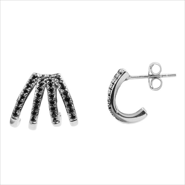 Zilveren ATLITW STUDIO Oorbellen BLISS EARRINGS 4 SPLIT BLACK O  - large