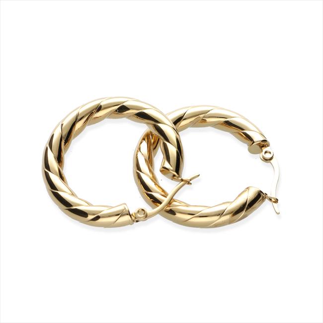 Gouden NOTRE-V Oorbellen OORBEL GEDRAAID  - large
