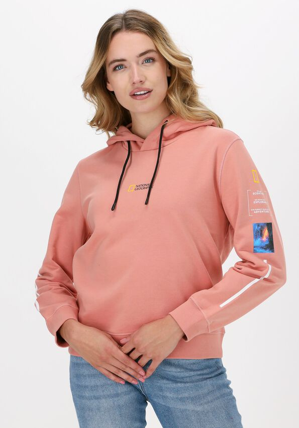 Perzik NATIONAL GEOGRAPHIC Sweater HOODY WITH CORD  - larger