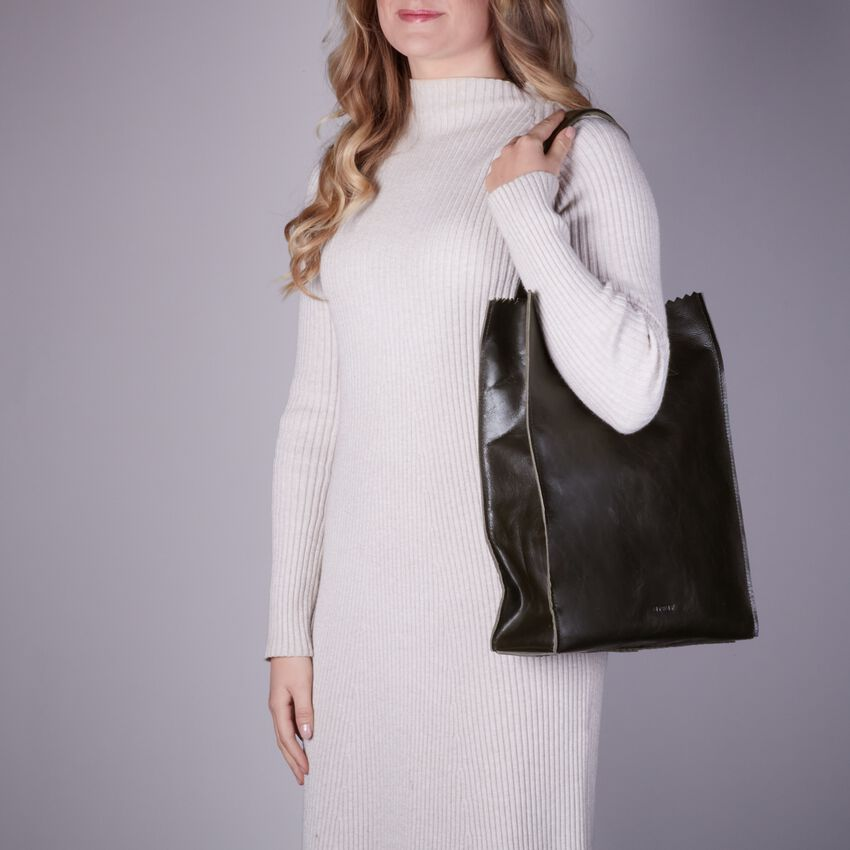 Groene MYOMY Handtas MY PAPER BAG LONG HANDLE ZIP  - larger