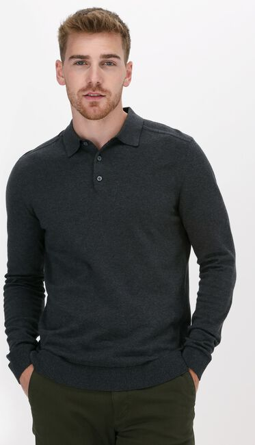 Antraciet SELECTED HOMME Polo SLHBERG LS KNIT POLO NECK B NO - large